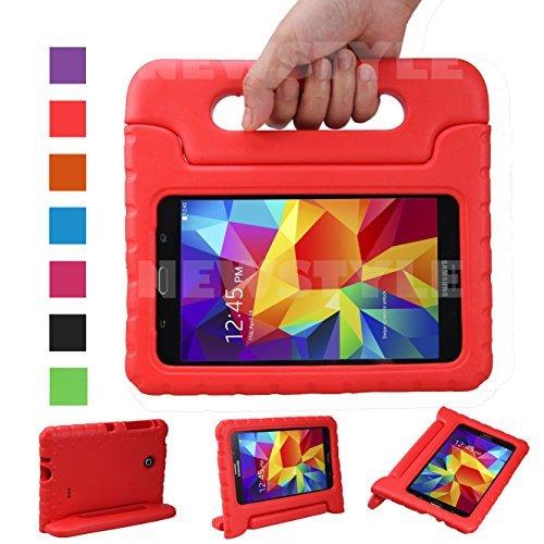NEWSTYLE Samsung Galaxy Tab 4 7.0 Zoll Eva Stoßfeste Schutzhülle Tragbar für Kinder mit Ständer Schutzhülle Standfunktion für Samsung Tab 4 SM-T230/T231/T235 7 Zoll Tablet,-Rot