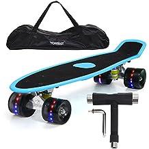 """Yorbay 22"""" skateboard monopatín retro con la bolsa y T-herramientas (tabla azul(papel de lija)/ruedas led negras)"""