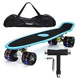 """Yorbay 22 """" Mini Cruiser Skateboard Cuscinetti a sfera ABEC-7 Vari colori e diversi tipi di ruote a scelta (pannello blu con carta vetrata ruote led)"""