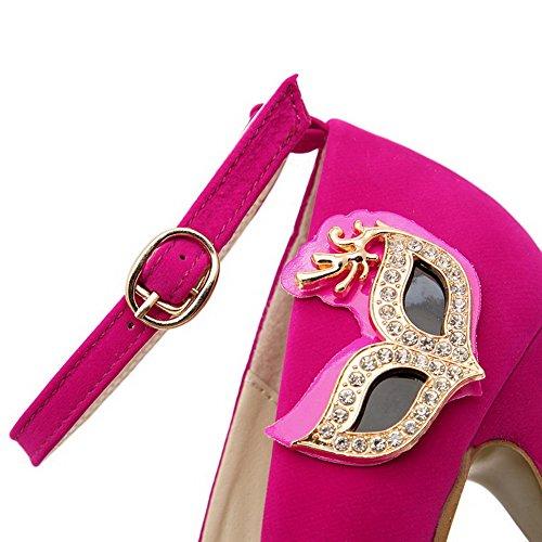 VogueZone009 Femme Boucle Rond Fermeture D'Orteil à Talon Haut Mosaïque Chaussures Légeres Cramoisi