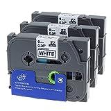 3x Unistar Schriftband (äquivalent zu Brother P-Touch tz221 TZe-221 TZE221) 9mm x 8m, schwarz auf weiß, für Brother P-Touch 1000 1000BTS 1000F 1005 1005BTS 1005F 1005FB 1010 1080 1090 1200 1200P uvm.