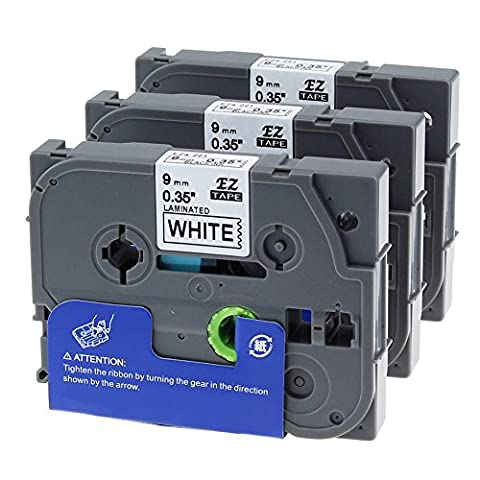 Unistar 3 Roll Tape Cassettes Replacement Brother P-touch TZe-221 TZ-221 Black on White 9mm x 8m TZ TZe Label Tapes Use for PT-1000 GL-H105 GL-200 PT-1080 PTE-550WVP PT-P700 PT-H300 Label Printer