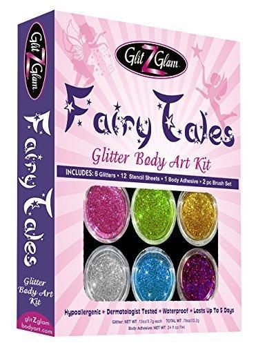 Märchen Glitter-Tattoo-Set mit 6 grossen Glitter und 12 erstaunlichen Schablonen - temporäre Tattoos & Körperkunst