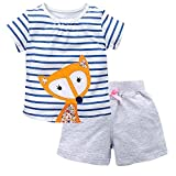 HUAER&Little Kids Girls Cotton Cute Cartoon T-Shirt + Shorts Set (6T