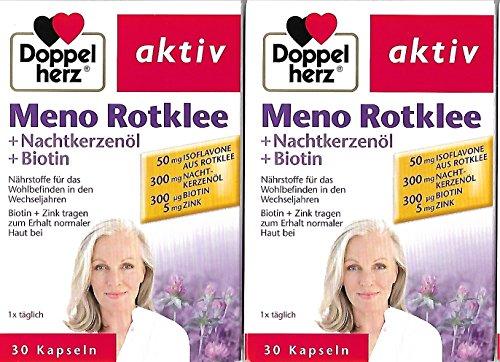 Doppelherz Meno Rotklee + Nachtkerzenöl+Biotin, 2er Pack (2 x 30 Kapseln)