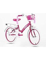 """Princesa Rosa Gril de bicicletas en tamaño 20""""+ frontal rosa cesta–edad 5–12años"""