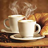 Artland Qualitätsbilder I Glasbilder Deko Glas Bilder 50 x 50 cm Ernährung Genuss Getränke Kaffee Foto Braun A7EZ Dampfender Cappuccino und Croissant