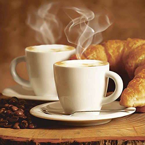 Artland Qualitätsbilder I Glasbilder Deko Glas Bilder 30 x 30 cm Ernährung Genuss Getränke Kaffee Foto Braun A7EZ Dampfender Cappuccino und Croissant