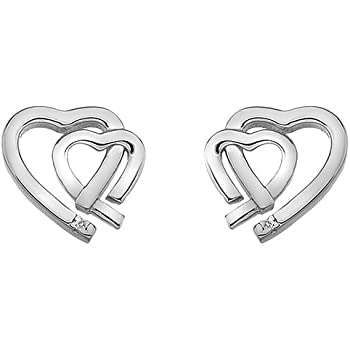 104ffc4eba7e Hot Diamonds Amore Rose Gold Plated Accents Double Heart Earrings ...