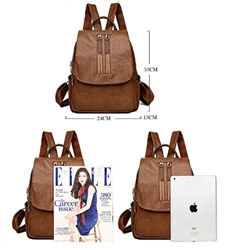 Himaleyaz Soft Dame Casual Rucksack für Arbeit beliebt Universität Mädchen Rucksack Medium große Kapazität braun Braun