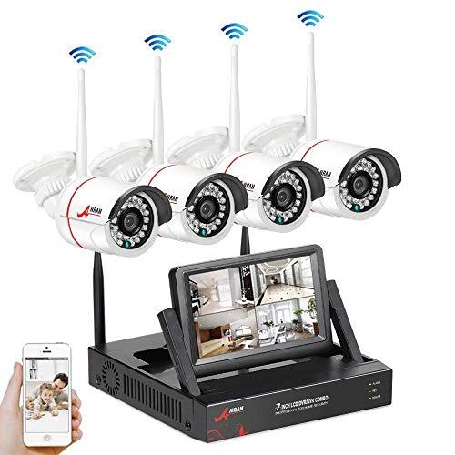 SWINWAY WLAN Heimüberwachung System Set, 960P 4 Channels 7inch Monitor NVR Heimüberwachung Kamera Kit , mit 4PCS 960P Wasserfeste IP Überwachungs Kameras, Automatische Verbindung, Gratis Remote APP, No Festplatte.