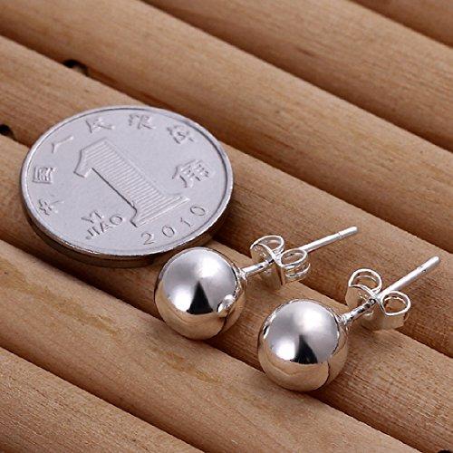 Pendientes JoyliveCY para mujer  cortos  de plata de ley de 925 milésimas  de 8mm  de estilo elegante y de tacto suave