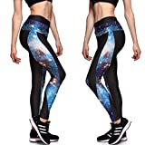 Ayliss® Damen 3D Druck Leggins Leggings Print Aufdruck Muster Leggins Tattoo Leggings Stretch Hose Strumpfhosen Yoga Sport Pants, S/L/2XL ([Tag Size S]=EU 30-32, Galaxy 04)