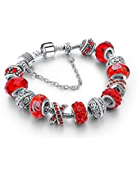 Hot And Bold Sterling Silver Plated Pandora Charms DIY Dangling Bracelet. Daily/Party Wear Stylish Fashion Jewellery...