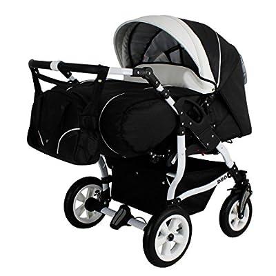 Adbor Duo Spezial Zwillingskinderwagen mit Babyschalen, Zwillingswagen, Zwillingsbuggy Farbe D-5 schwarz / weiss