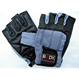 Body Sculpture Leather Weight Training Gloves Medium Size BLUE Weight Lifting Dumbbell Barbell Gym Fitness