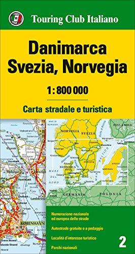 Dinamarca, Suecia y Noruega, mapa de carreteras impermeable. Escala 1:800.000. Touring Club Italiano. (Carte d'Europa 1:800.000)