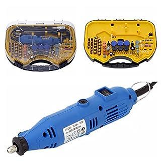 KKmoon AC 110-220V 180W Schleifer Set mit 211 Zubehör, Einstellbar Geschwindigkeit Multischleifer mit Flexible Welle Aufbewahrungsbox für DIY Gravieren Fräsen Polieren Bohren Schneiden Schleifen Blau