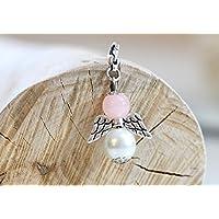 Engel aus Perlen rosa Gastgeschenk Glücksbringer Hochzeit Kommunion Konfirmation Taufe Tischkarte Schutzengel silber