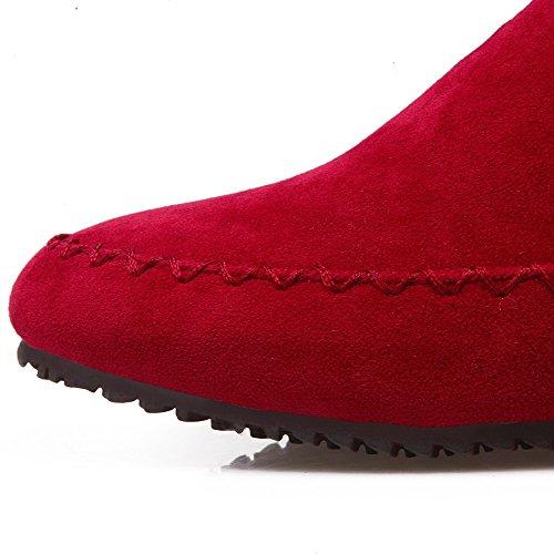 Couleur Rond Bas Talon Femme Unie à Rivet Bottes Tire VogueZone009 à avec Rouge Passepoil 4qYISn
