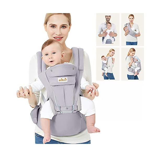 Viedouce Baby Carrier Ergonomic with Hip Seat/ Pure Cotton Lightweight and Breathable/ Multiposition:Dorsal, Ventral, Adjustable for Newborn and Toddler from 0 to 4 years (3.5 to 20 kg) Viedouce 【More environmentally friendly】 - High quality pure cotton fabric with 3D breathable mesh take care of your health and the health of your baby; The detachable sun visor and wind cap provide warmth in the winter and freshness in the summer. At the same time, the zipper buckle is designed for easy disassembly and cleaning. 【More ergonomic】 - An enlarged arc stool to better support the baby's thighs, the M design that allows the knees to be higher than the buttocks when your baby sits, is more ergonomic. 【Comfort and safety】 - The area near the abdomen is filled with a soft and thick sponge, reduces the pressure on the abdomen and gives more comfort to you and your baby. High quality professional safety buckles and velcro, shock absorbing pads, are equipped to protect your baby. 1