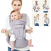 Viedouce Baby Carrier Ergonomic with Hip Seat/ Pure Cotton Lightweight and Breathable/ Multiposition:Dorsal, Ventral, Adjustable for Newborn and Toddler from 0 to 4 years (3.5 to 20 kg)