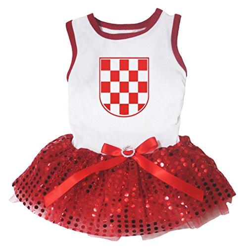 Petitebelle Kroatien Rot Weiß Karierte Flagge Weiß Baumwolle Shirt Puppy Hund Kleid (Flagge Shirts Karierte)