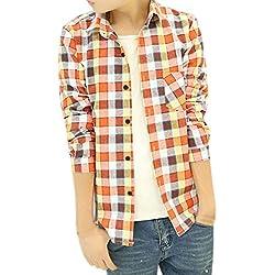 sourcingmap Hombre Escocesa Diseño Completo Mangas diseño Camisas Informales - algodón, Naranja, 50% poliéster 50% algodón No, Hombre, S (GB 36)