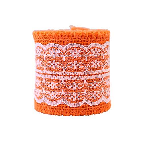 Haodou Elastische Spitze Band Band 6cm Breite Borte Stretch Spitze Trim Gestickte Net Kabel Für Nähen Kostüm Spitze Stoff (Orange) - Gestickt Kabel