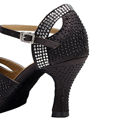 Sandales de Plateforme Noir Mary nero Jane Minitoo Femme Nero soirée en Satin XwXSqI4