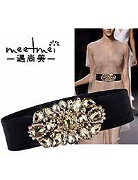 QIER-YD Cinturón de la Mujer Moda Salvaje pedrería elástica cinturón Ancho  cinturón Decorativo Vestido 7f1b42ac9744