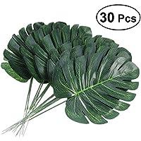 Tinksky 30 piezas flores de simulación verde Plantas artificiales falso hojas de Monstera Inicio fiesta Hawaiian Luau partido de la selva decoraciones del partido de la playa