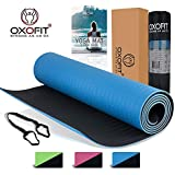 OxOFit All Purpose Premium Yoga Mat for Men & Women|High Quality Anti-Tear Sustainable TPE Material|For Yoga, Meditation, Pilates & Floor Exercises|6ft x 2ft x 6mm thick, Dual Layer, Non-Slip Mat|Extra large Carrying Bag, Shoulder Strap & Gift Box
