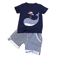 iEFiEL Conjunto Infantil Animal Estampado para Recién Nacido Niño (2-7 Años) Camiseta Pantalones Cortos Azul Oscuro 3 Años