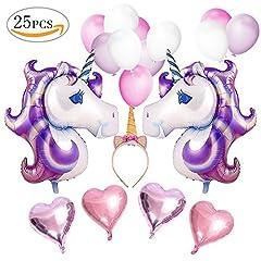 Idea Regalo - VSTON Palloncini Decorazione Partito Unicorno buon compleanno rifornimenti festa Bunting banner carta velina Pom fiori rosa ghirlanda per ragazze bambini bambino (bel tema rosa viola)