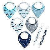 6pcs Lätzchen Dreieckstuch mit 2 Schnullerband Baby Halstuch Spucktuch mit Schnullerketten, Unisex Bio-Baumwolle Halstücher Lätzchen mit Druckknöpfen für jungen Babys von Future Founder