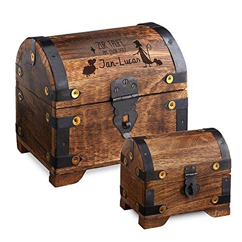 Casa Vivente – Geschenkset zur Taufe – Große Geldschatztruhe mit Gravur – Personalisiert mit [Namen] und [Datum] – Kleines Schmuckkästchen – Dunkles Holz – Verpackung für Geldgeschenke Oder Schmuck