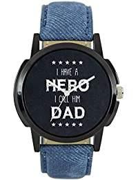 LOREM LR07 Father's Day Special New Year Blue Gens Leather Analog Watch For Men & Boys