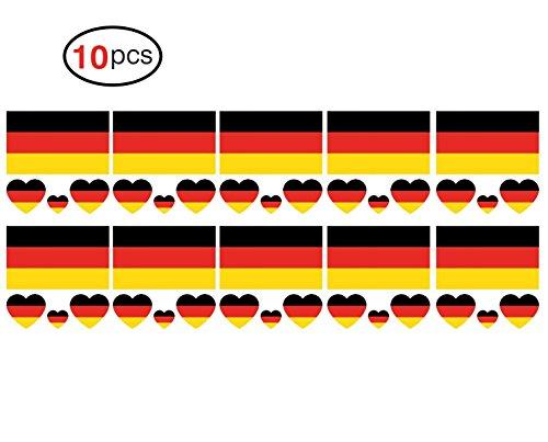 HanSmart Weltmeisterschaft 2018 Aufkleber,Deutsche FIFA National Banner Fahnen Flagge Reine Farbige Temporäre Tattoos Für Herren,Frauen,Kinder-10PCS