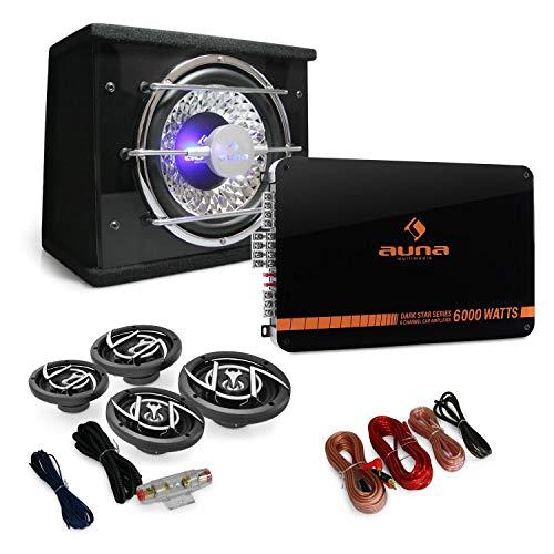 auna 4.1 Car HiFi Set - Auto-Lautsprecher-Set, Black Line 540, 500 Watt Verstärker, Endstufe, 16 cm Auto-Boxen, 600 Watt Subwoofer, inkl. Kabelset, schwarz