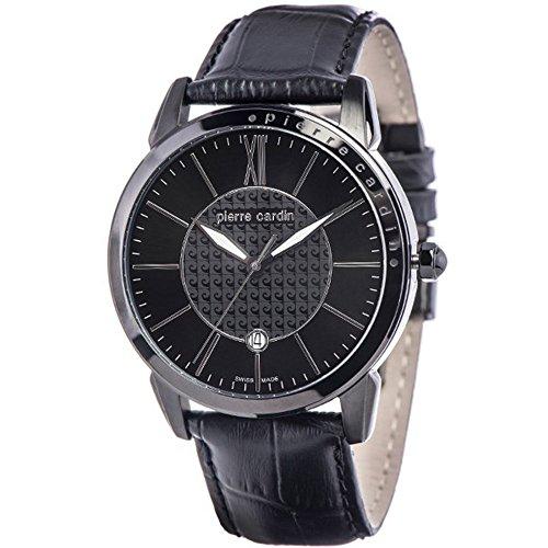 Pierre Cardin Uhr Classic black gun color Leder Herrenuhr Swiss Made PC105911S07