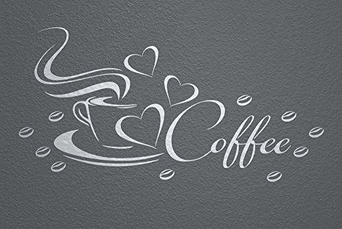 WANDfee Wandtattoo Coffee Kaffeetasse Herz und Bohnen AC0410022 Größe 57 x 27 cm Farbe silber