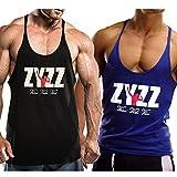 Alivebody Herren Bodybuilding Tank Top Sport Weste Gym Sleeveless Muskelshirt Schwarz+Blau M