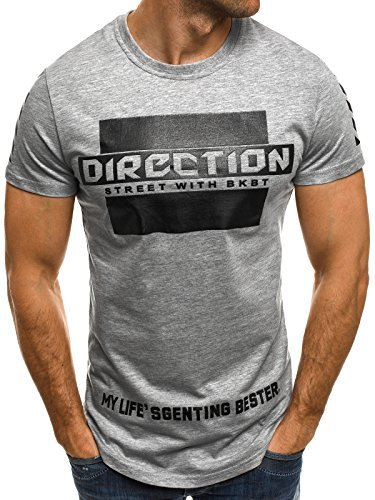 OZONEE Herren T-Shirt mit Motiv Kurzarm Rundhals Figurbetont J.STYLE SS092 Grau