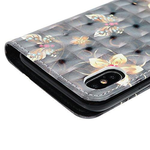 iPhone X Flipcase YOKIRIN Wallet Case für iPhone X Schutzhülle Handyhülle 3D Effekt Farbmalerei Flip Case Hardcase Ledertasche PU Leder Huelle Stand Halter Innere TPU Handytasche Schale Bookstyle Port Blume Schmetterling