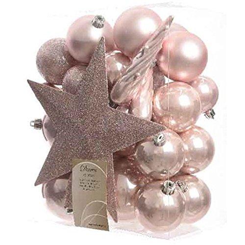 Kaemingk - set di palline e stelle per decorare l'albero di natale, infrangibili, colore: rosa antico