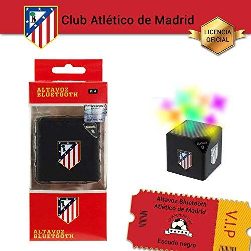 Atlético de madrid - Altavoz bluetooth inalámbrico con licencia oficial del . función manos libres. escudo negro
