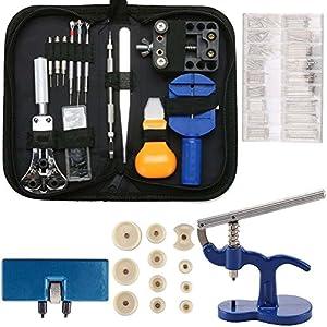 Berufs Uhr Reparatur Werkzeug Satz – 499 TLG Uhrkasten Presswerkzeug mit 12 Plastikeinsatz Pressplatten Uhrmacherwerkzeug