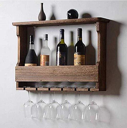 YSA Holz Weinregal Rustikale Weinregal, Weinflaschen oder Flüssigflaschen Lagerung Inhaber | Stemware Racks Organizer, halten 6 Weingläser, 24 und 5 und 17 Zoll Stemware Rack