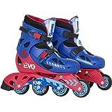 EVO Red + Blue Inline Skates - Rollerskates - Adjustable Junior Size 13j - 3 - Snap Close Buckle - Rear Stopper - Childrens Sports